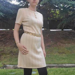 St. John Sport beige pin stripe knit dress